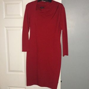 Escada long sleeve red dress